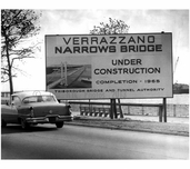 Verrazano Bridge under construction behind sign indicating so, 1965