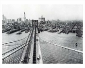 View from the top of the Brooklyn Bridge looking at the Skyline of Downtown Brooklyn  1913 - The Williamsburg Savings Bank & Municipal Building Tower rise above the rest
