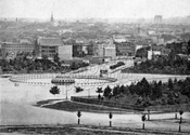 View of the Plaza and Park Slope from Mount Prospect Reservoir. Brooklyn Bridge under construction, c.1875