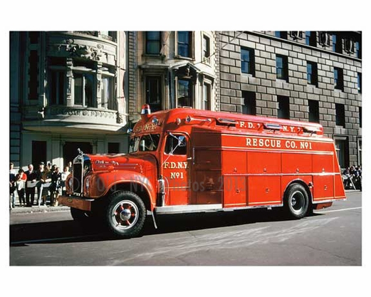 Vintage FDNY Rescue Fire truck - 5th Avenue Parade 1960s Manhattan
