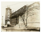 Williamsburg Bridge - seen from South 6th Street looking west from Dunham Place toward Ave in 1901 Brooklyn, NY