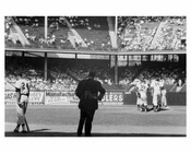 Willie Mays at bat - Dodgers pitching conference at Ebbets Field 1957