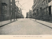 Wood pavement on State Street, between Hicks and Henry Streets, c.1900