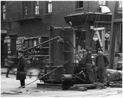 Workers stare at the Photographer - 7th Avenue & 25th Street November 4th 1915 Chelsea, Manhattan