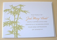 A Green Bamboo Personalized Sympathy Thank You Card