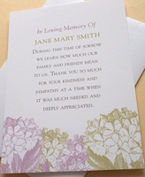 Custom Condolence Thank You Card with Purple or Peach Flowers