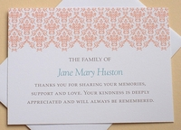 Custom Funeral Thank You Card with Peach or Blue Lace