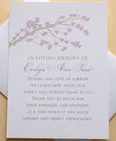 Custom Sympathy Thank You Card With A Branch of Purple Blossoms