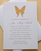 Custom Thank You Sympathy Card with a Colorful Butterfly