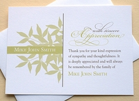 Customized Thank You Sympathy Card With Green Leaves