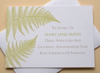 Fine Stationary - Thank You Sympathy Card With Green Leaves