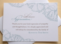 Funeral Thank You Card With Blue Carnations
