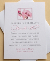 Sympathy Thank You Card with Pink Orchids