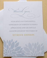Funeral Thank You Notes with Blue or Purple Flowers