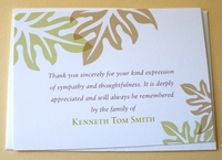 Personalized Sympathy Thank You Card With Green and Brown Leaves
