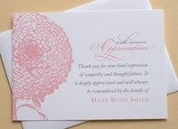 Thank You Sympathy Card with a Big Pink Flower