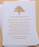 Sympathy Thank You Card with a Strong Tree
