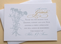 Thank You Sympathy Card - Custom - Blue or Green Carnations