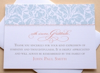 Thank You Sympathy Cards with Blue Flowers