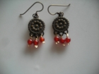 Bronze Beaded Discs with  Dark Carnelian Dangles