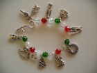 Christmas : Silver-Plated Charms on Red, Green, Clear Facets 8mm