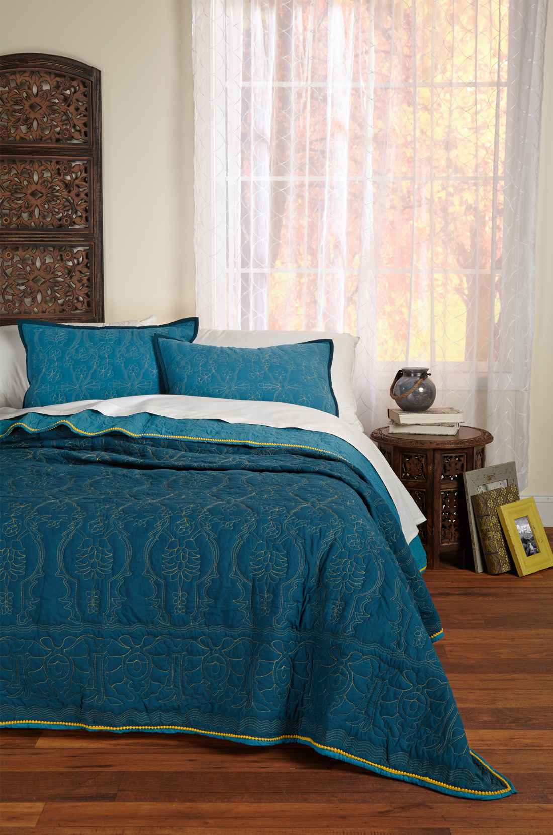 Textileshop - Rochelle Reversible Teal-Blue 3 Piece Quilt Set : teal quilt set - Adamdwight.com