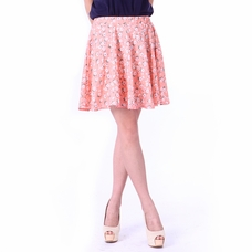 Women's Coral Lily Floral Pleated Mini Skirt