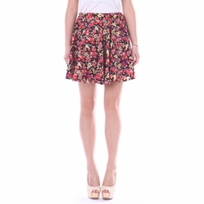 Women's Fiery Floral Pleated Mini Skirt