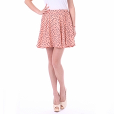 Women's Peach & Navy Blue Polka Dot Pleated Mini Skirt