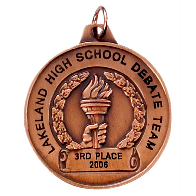 1-1/2 Inch Bronze Achievement Torch Medal-Imprintable