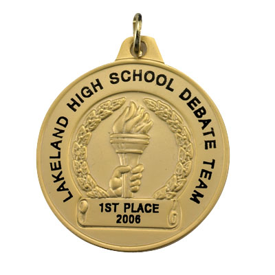 1-1/2 Inch Gold Achievement Torch Medal-Imprintable