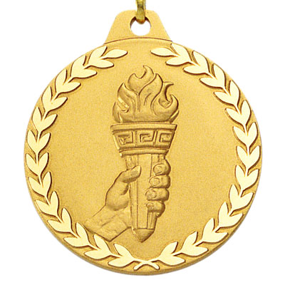 1-1/2 Inch Diamond Cut Border Achievement Torch in Hand Medal