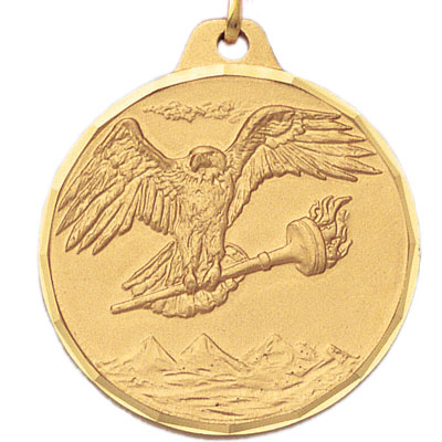 1-1/2 Inch Diamond Cut Border Eagle with Torch in Hand Medal