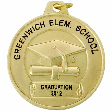 1-1/2 Inch Gold Graduation Cap and Scroll Medal-Imprintable