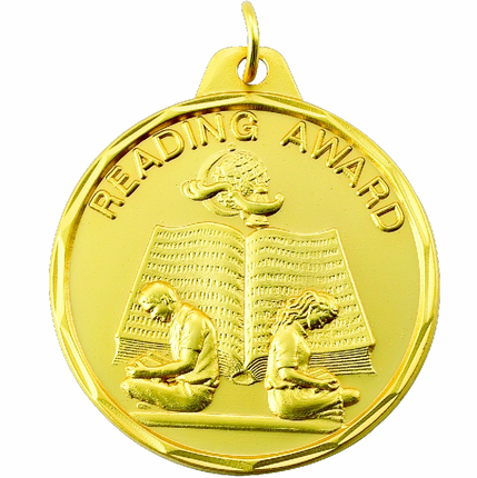 """1-1/2 Inch Scalloped Border """"Reading Award"""" with Boy and Girl Medal"""