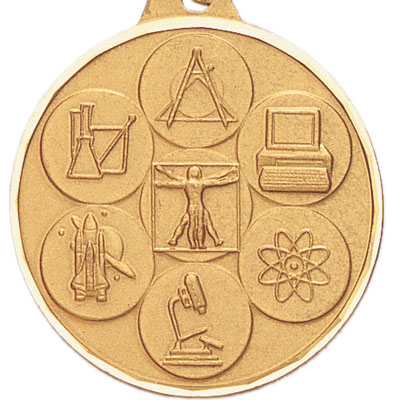 1-1/2 Inch Diamond Cut Border Gold Multiple Science Disciplines Medal