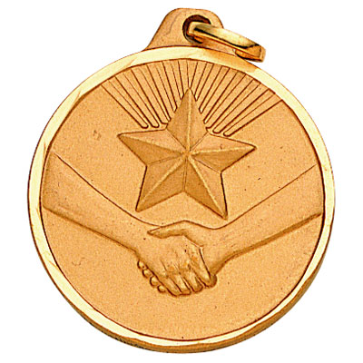 1-1/4 Inch Diamond Cut Border Recognition Handshake with Star Medal