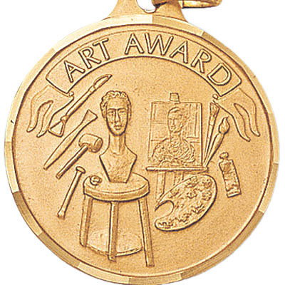 "1-1/4 Inch Diamond Cut Border ""Art Award"" with Canvas and Tensils Medal"