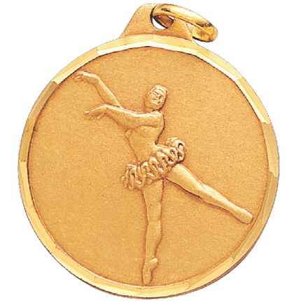 1-1/4 Inch Diamond Cut Border Ballerina Medal