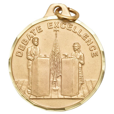 "1-1/4 Inch Diamond Cut Border ""Debate Excellence"" with Debaters Medal"