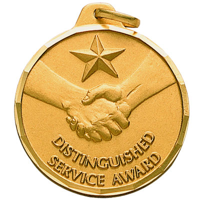 "1-1/4 Inch Diamond Cut Border ""Distinguished Service Award"" Handshake with Star Medal"