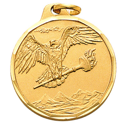 1-1/4 Inch Diamond Cut Border Eagle with Torch Medal