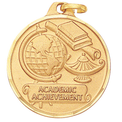 "1-1/4 Inch Diamond Cut Border ""Academic Achievement"" with Lamp of Learning Medal"
