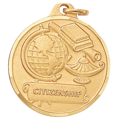 "1-1/4 Inch Diamond Cut Border ""Citizenship"" with Lamp, Globe, and Scroll Medal"