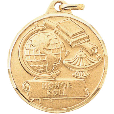"""1-1/4 Inch Diamond Cut Border """"Honor Roll"""" with Lamp, Globe, and Scroll Medal"""