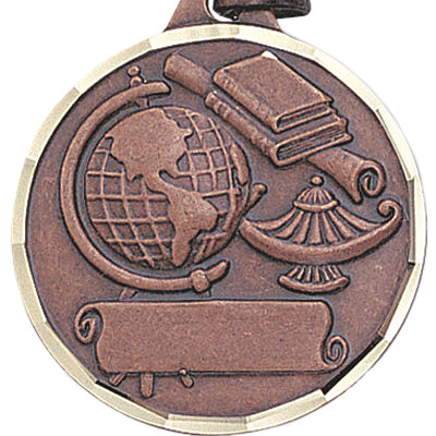 1-1/4 Inch Diamond Cut Border Lamp, Globe, and Scroll Medal- Imprintable