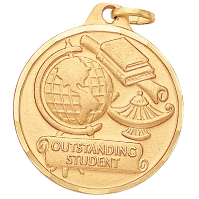 "1-1/4 Inch Diamond Cut Border ""Outstanding Student"" with Lamp, Globe, and Scroll Medal"