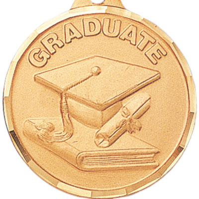 "1-1/4 Inch Diamond Cut Border ""Graduate"" with Cap and Scroll Medal"