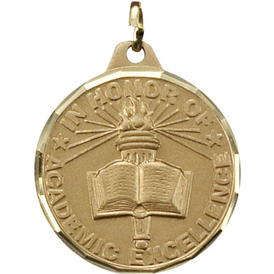 "1-1/4 Inch Diamond Cut Border ""In Honor of Academic Excellence""  with Torch in Hand Medal"