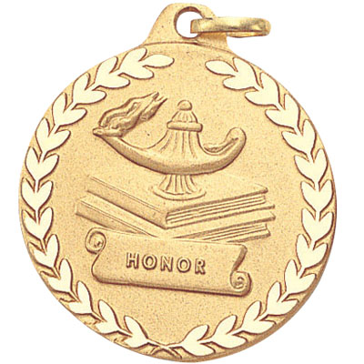 """1-1/4 Inch Diamond Cut Border and Stamped """"Honor"""" with Lamp, Books, and Wreath Medal"""